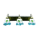 6 Inches Width Floral Pattern Tiffany Bathroom Lighting  with Three Lights