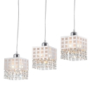White Square Shade and Lovely Crystal Beads Add Charm to Stunning Multi-Light Pendant