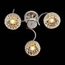 Three Lights Semi Flush Mount  Light Features Metal Globe Frame and Beaded Shades
