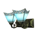 Dark/Light Blue Tiffany Two Light Bathroom Lighting Highlighted with Etched Arm