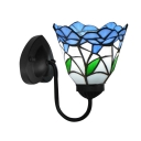 Mysterious Blue Blossom Decorated Tiffany Wall Sconce in Black Finish