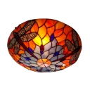 Glamorous Three Lights Dragonfly Motif Colorful Glass Shade Tiffany Flush Mount Ceiling Light