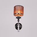 Fluttering One Light Coffee Fabric Cylinder Shade Wall Sconce Adorned with Faceted Crystal Drop Perfect for Bedroom