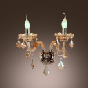 Elegant Gleaming Crystal Embraces Sparkling Unparalled Two Light Wall Sconce