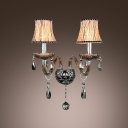 Beautiful Scrolling Arms and Delicate Fabric Shade Formed Striking Wall Sconce