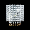 Dazzling Crystal Wall Sconce Features Dimensional Lines and Chrome Finish Frame
