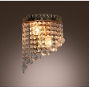 Chic Wall Sconce with Strands of Clear Crystal Beads and Balls Hanging From Graceful Metal Frame