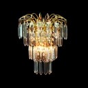 Sparkling Wall Sconce Features Dimentional Square Crystals and Graceful Scrolls