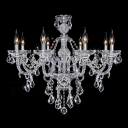 Glittering Clear Crystal Strands and Beads Cascades 8-Light Traditional Chandelier