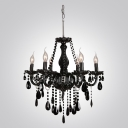 Splendid and Bold Jet Black All Crystal 6-Light Classic Style Chandelier