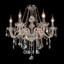 6-Light Shinning Clear Crystal Chains and Drops Candle Light Classic Chandelier