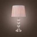 Contemporary Table Lamp Designed As Stack of Crystal Orbs with Beige Pleated Fabric Shade