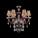 Purple Crystal Glass Arms Silver Shades Classic Chandelier Shine with Clear Crystal Drops