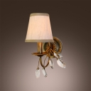 Warm Clear Crystal Leaves Sparkle in Burnished Gold Wall Sconce Design