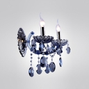 Hand-formed Crystal Arms Redefine Graceful Wall Sconce Adorned with Unique Blue Crystal Beads