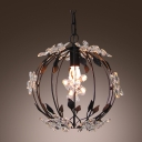 Breathtaking Pendant Light Features Black Iron Frame Embellished with Clear Crystal Flowers Bring Exquisite Design
