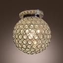Dizzying Clear Crystal Beaded Round Shade Semi-Flush Mount Lighting