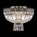 Strands of Glimmering Crystals and Polished Bronze Finish Creating Dazzling Display Graceful Ceiling Light