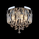 Finely Hand Cut Crystal Accents and Droplets 3-Light Contemporary Crystal Flush Mount