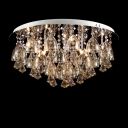 Gorgeous Amber Crystal Diamond Droplets Bold and Intriguing Crystal Flush Mount