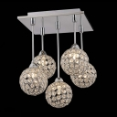 Gracefully 5-Light Crystal Globe Shades and Stainless Steel Canopy Multi-Light Pendant