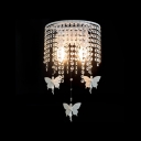 Beautiful All White Butterflies and Strands of Clear Crystal Beads Creating Stunning Double Light Wall Sconce with White Finish Iron Base