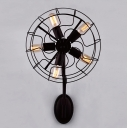 LOFT Industrial Novelty Wrought Iron Fan LED Wall Sconce