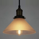 1-light LOFT Cone Shaped Frosted Glass LED Mini Pendant Lamp