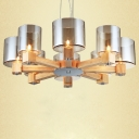 """Wide Eight Light Wooden Frame And Glass Shade Chandelier 27.5"""""""
