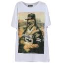 White Backgrounds Spoof Mona Lisa Print T-Shirt