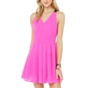 Pink Crossback V-Neck Sleeveless Pleated Sundress