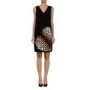 Fashionable Heart Leopard Pattern V-Neck Black Slim Dress