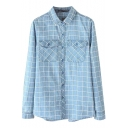 Blue Plaid Print Lapel Double Pocket Long Sleeve Denim Blouse