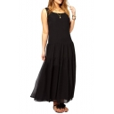 Sleeveless Round Neck Tiered Chiffon Loose Black Dress