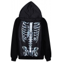 Iron Skeleton Print Black Hoodie