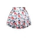 Christmas Party Print Pleated Mini Skirt