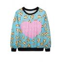 Pink Heart&Mini Pizza Print Sweatshirt