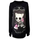 Mirror&Skeleton Doggy Print Black Slim Sweatshirt