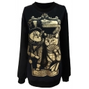 Cute Cat Couple Print Black Sweatshirt