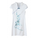 Bird Embroidered V-Neck Cap Sleeve Skinny Cheongsam Dress