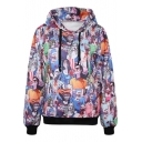 Horrible Zombie Print Hooded Pullover with Pocket Front