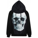 Halloween Skull Print Loose Hoodie with Drawstring