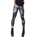 Monster Tie Dye Elastic Waist Skinny Leggings