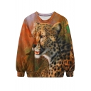 Leopard On Grassland Print Sweatshirt
