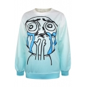 Crying Spoof Expression Print Blue Ombre Sweatshirt