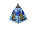 Blue Mini Pendant Light Stained Glass Tiffany Style Sailboat Lamp
