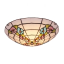 Adorable Blue and Purple Flowers Patterned Glass Shade Two Lights Tiffany Flush Mount Ceiling Light