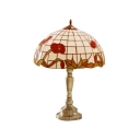 Traditional Antique Brass Finish Botanic Pattern Glass Shade Tiffany Table Lamp