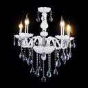 Graceful Modern Five-light Crystal-rained Living Room's Chandelier in White Finish