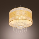 Enchanting Large Pendant with Gold Fabric Shade and Strands of Crystals Create  Welcomed Addition